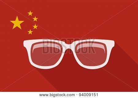 China Long Shadow Flag With A Glasses