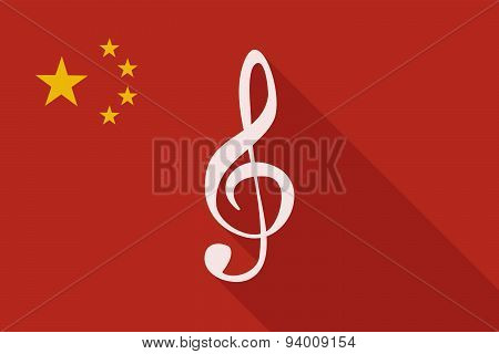 China Long Shadow Flag With A G Clef