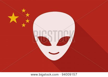 China Long Shadow Flag With An Alien Face
