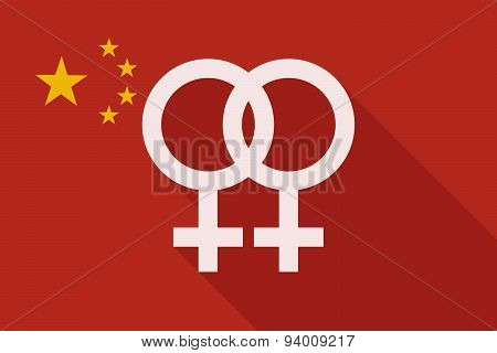China Long Shadow Flag With A Lesbian Sign