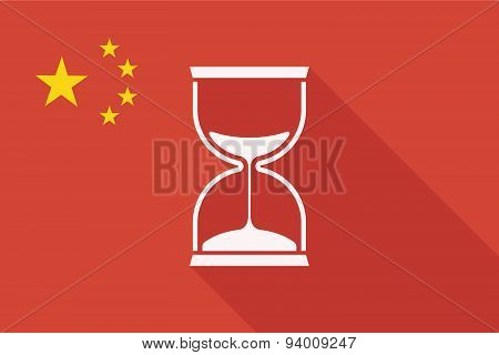 China Long Shadow Flag With A Sand Clock