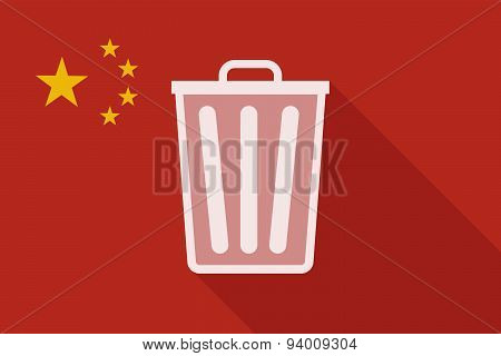 China Long Shadow Flag With A Trash Can