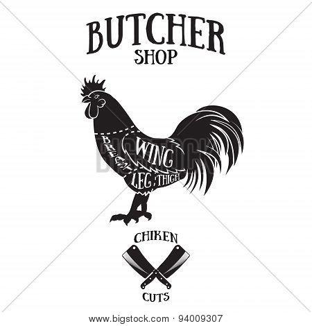 Butcher Cuts Scheme Of Chicken