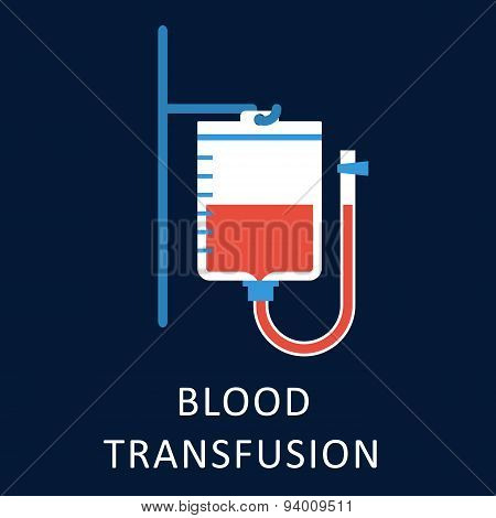 Blood transfusion flat icon with blood bag