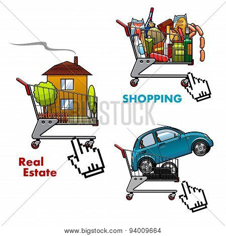 Shopping carts with food, car and real estate