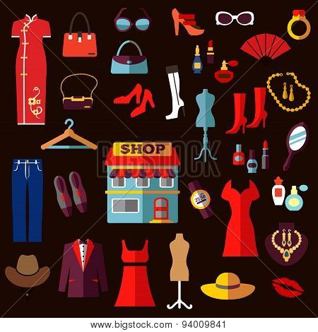 Shopping, fashion and beauty flat icons