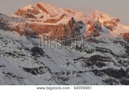 Winter in Ordesa National Park, elevated peaks, left to rigth, are Sum de Ramond (3254 m.) and Monte Perdido (3355 m.), Pyrenees, Huesca, Aragon, Spain.