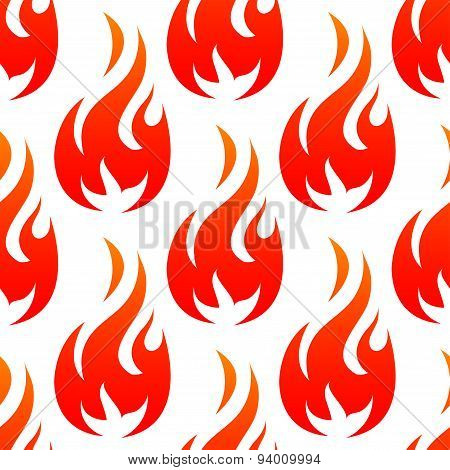 Fire flames with red blaze seamless pattern