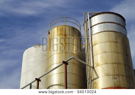 Metal industrial tanks for aging time.