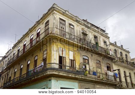Dilapidated building in the city of Havana, Cuba.