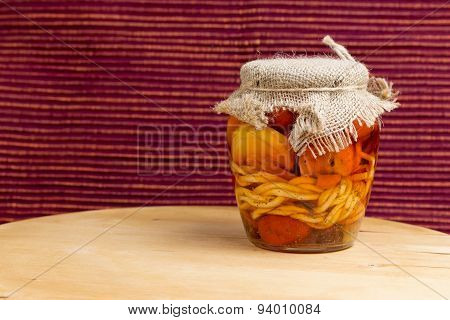 Jar Of Pickled Variety Of Cheese In Oil