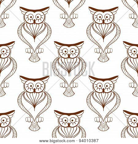 Cute owls retro seamless pattern