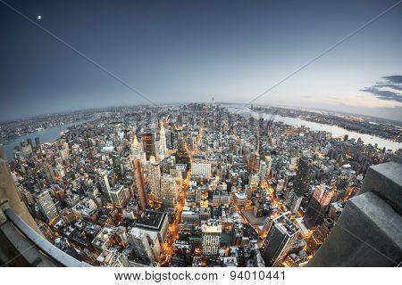 An image of Manhattan New York by night