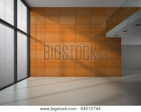 Empty room with wooden panel walls 3D rendering