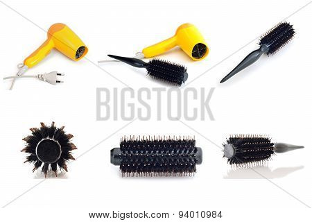 Collection Hair Dryer And Comb Brush Isolate On White Background