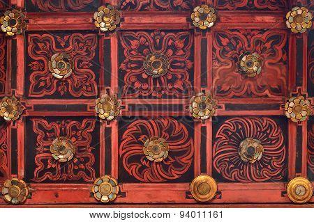 Beautiful Thai Style Teak Wood Carving Ceiling In Chiangmai Thai