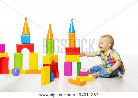 Baby Kid Play Block Toys Building, Child Boy Constructor Playing Bricks Game, Children White Room