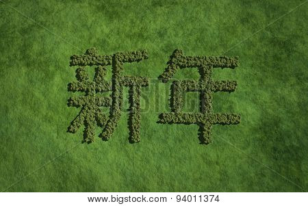New Year Chinese Text Tree With Grass Background
