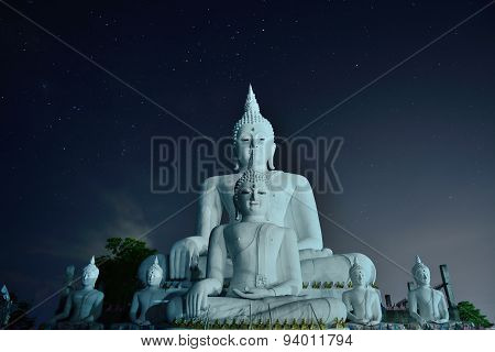 Amazing Concrete Buddha In Chiangmai Night Thailand