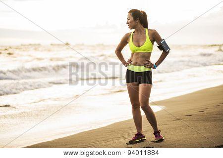 woman fitness sunrise jogging workout wellness concept.