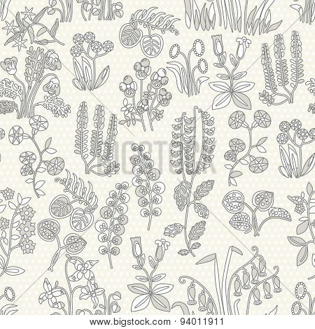 Provense flowers. Scrap booking floral seamless background.