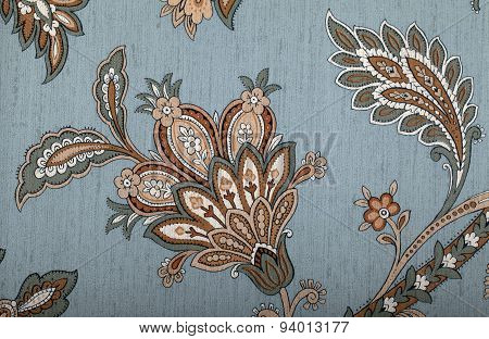 Vintage Grey Wallpaper With Brown Vignette Victorian Pattern