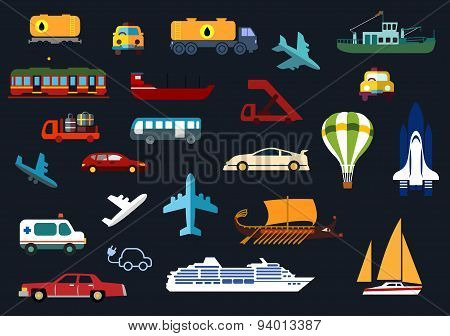 Flat icons with road, water, rail, air transport