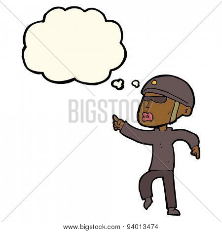 cartoon man in bike helmet pointing with thought bubble