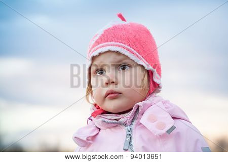 Cute Caucasian Blond Baby Girl In Pink Hat