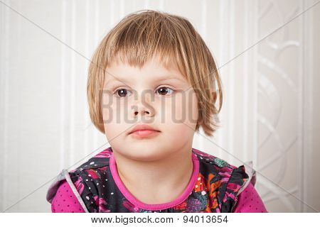 Cute Caucasian Blond Baby Girl Studio Portrait