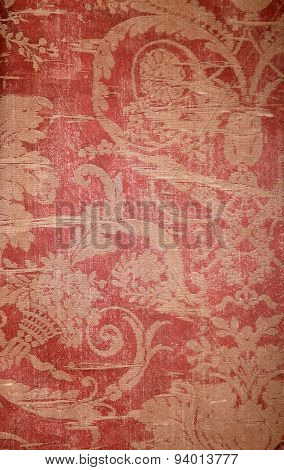 Vintage Wallpaper With Shabby Fabric Victorian Pattern