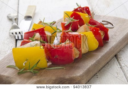 Peppers Shashlik With Grilled Chicken Cubes
