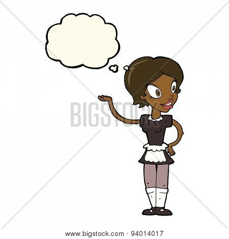 cartoon woman in maid costume with thought bubble