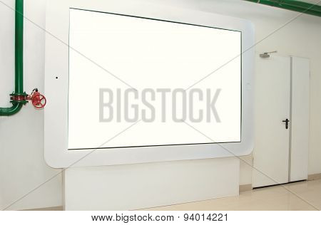 large touchpad on the wall for display advertising