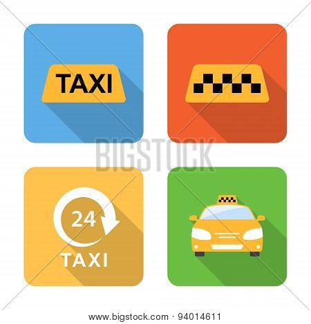Flat Taxi Icons With Long Shadows. Vector Illustration