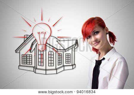Red-haired Girl Makes A House Project