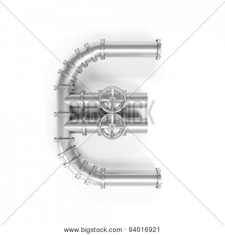 Euro symbol made of oil pipes as concept for oil price (3D Rendering)