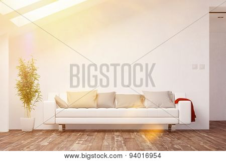 Living room in bright attic with sofa in front of a wall (3D Rendering)