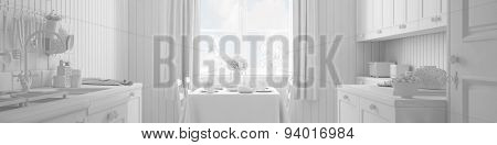 Panorama of a white kitchen with breakfast table (3D Rendering)