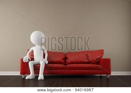 White 3D guy sitting on a red sofa in the living room (3D Rendering)