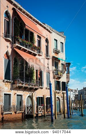 Beautiful facade of typical merchant house on Grand canal, Venice
