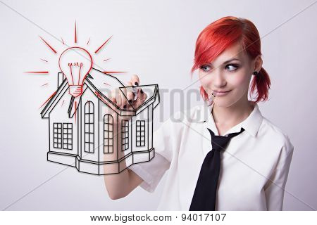 Red-haired Girl Draws A House Drawing