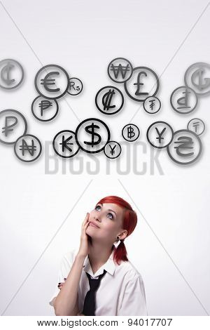 Girl And Cloud Coins