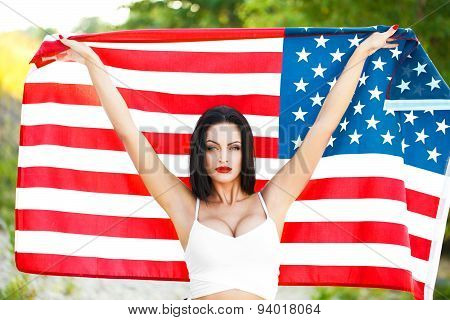 Sexy Woman Holding Usa Flag Outdoor