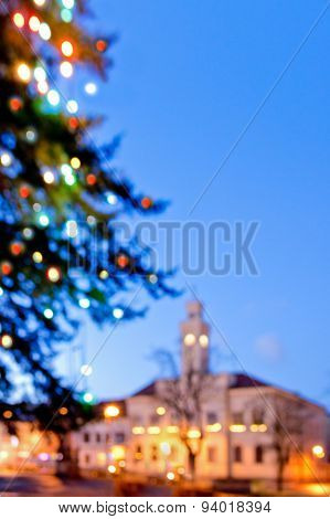 Christmas Tree And Castle In The Night