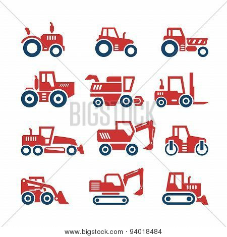 Set Color Icons Of Tractors, Farm And Buildings Machines, Construction Vehicles