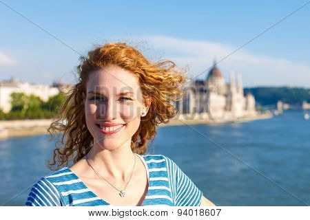 Young Redhead Tourist Woman Sightseeing At Budapest