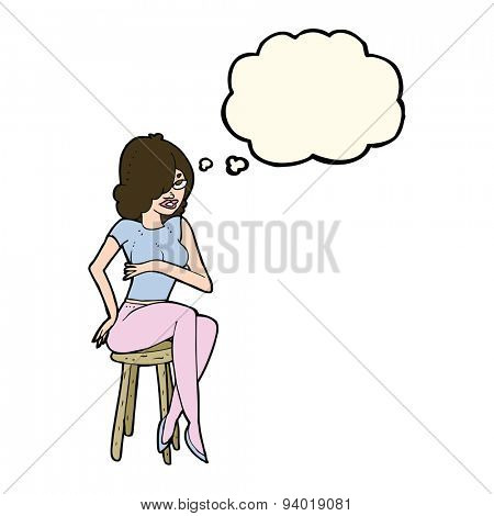 cartoon woman sitting on bar stool with thought bubble