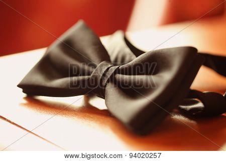 Black Bow Tie On Table