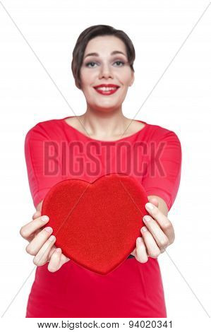 Beautiful Plus Size Woman With Red Heart. Focus On Heart